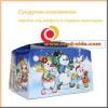 Праздничная новогодняя коробка для подарка, сундучок-снеговичок